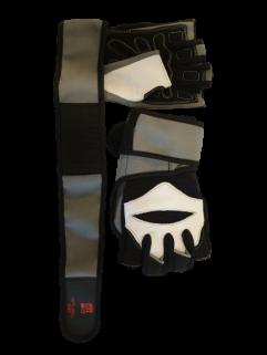 Treningshanske med håndleddsstøtte, grå / svart og hvitt