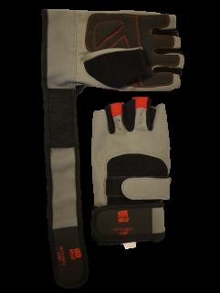 Treningshanske med håndleddsstøtte, grå / svart / rød